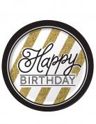 8 tallerkener Happy Birthday sort og guld 23 cm