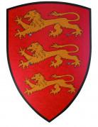 Våbenskjold rødt med løve i træ 36 * 50 cm