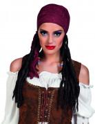 Paryk pirat med bordeauxrød bandana til kvinder