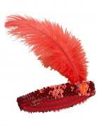 Charleston pandebånd med fjer rød