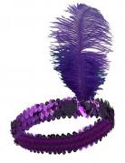 Pandebånd charleston med pailletter og fjer violet til kvinder