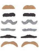 Pakke med 12 stk. moustacher til voksne