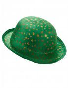 Grøn fløjlsagtig bowlerhat med guldfarvede firkløvere Skt. Patricks dag