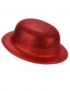 Bowlerhat rød glimmer plastik til voksne
