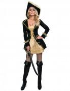 Kostume til barok-pirat i sort og guldfarvet dame