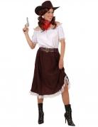 Kostume cowgirl hvid og brun til kvinder