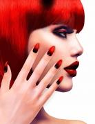 Røde og sorte Halloween negle