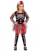 Kostume skelet rødt og sort til piger