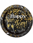 Tallerkener 8 stk. Happy New Year glinsende 23 cm