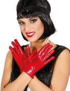 Korte handsker metallisk rød