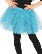 Tylskørt i blå med glimmer til piger