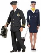 Par kostume pilot og stewardesse til voksne