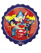 Rund aluminiumsballon med blå kant - DC Super Hero Girls™