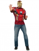 Captain America Civil War™ Iron Man tshirt med muskler og maske voksen