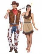 Par kostume cowboy og indianer voksen