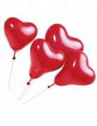 5 røde hjerteformet balloner med pind
